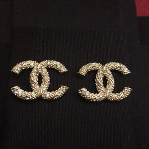 Chanel Gold Earrings Inlaid with Crystals